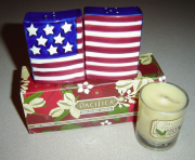 Candle, and salt and pepper shakers