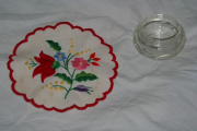 200years old Crystal Vase with self-made, embroidered table-cloth