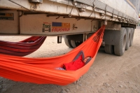sleeping below the truck in a hammock - pur joy!
