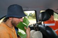 eating cheese in a palm leave, bought for Augustas from our drivers