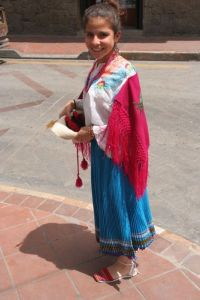 perfect shot of a traditional dress from a town in Azuay region