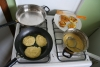 5th day: time to start eating rich - potatoe pancakes with fried vegetables