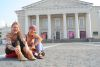 lovely girl Jovita during a photo shooting in front of the Vilnius town hall