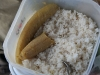 a common meal on the boat: dry rice with even drier plantain (since only meat is prepared with sauce, we were living like chicken on dry food)