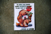 A greeting card with a little dog on the front picture