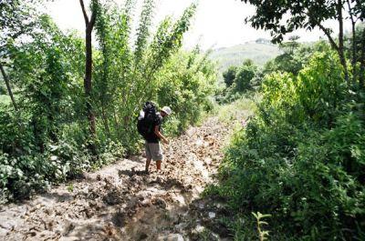 crossing through the mud near the border