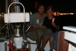 Celebrating our first succesful boat hitch-hiking