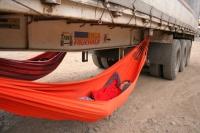 sleeping below the truck in a hammock - pur joy!