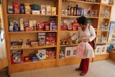 shelfs full of German Christmas products