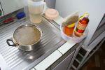 our food for three weeks: tea of special herbs, honey, apple vinegar