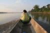 Guajoyas village chief Oscar guiding through the jungle rivers